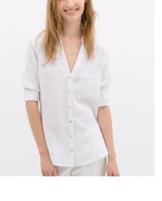 koszula biała lniana zara damska  uVnbB