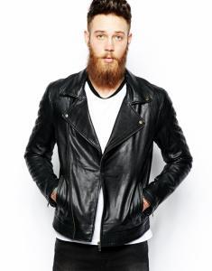 ASOS czarna kurtka skóra naturalna biker HIT 38 M