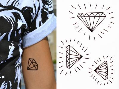 Gold Tattoo Black Diamond Pióro Diament Tatuaż New 5549689343
