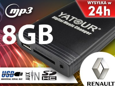 ZMIENIARKA MP3 SD USB RENAULT CLIO MEGANE +8GB NEW