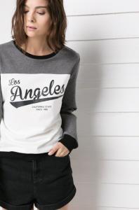 Bluza MANGO Los Angeles pikowana LA szara biała 36