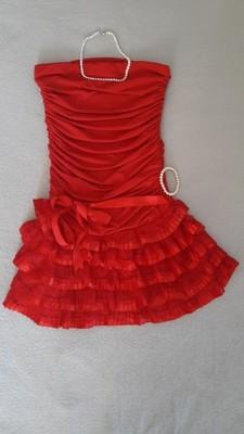 Czerwona sukienka z koronką r. S wesele