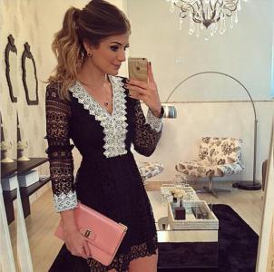 Piękna sukienka koronkowa czarno biała SMLXL