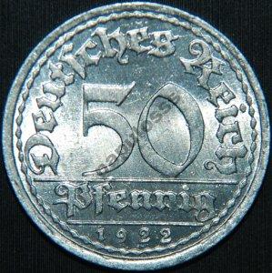 50 Pfennig 1922 F Wendepragung - około mennicze