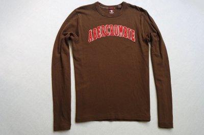 ABERCROMBIE&FITCH koszulka brązowa logowana__L