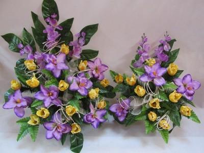 Sztuczne Kwiaty Stroik + Bukiet Na Grób Kompozycja