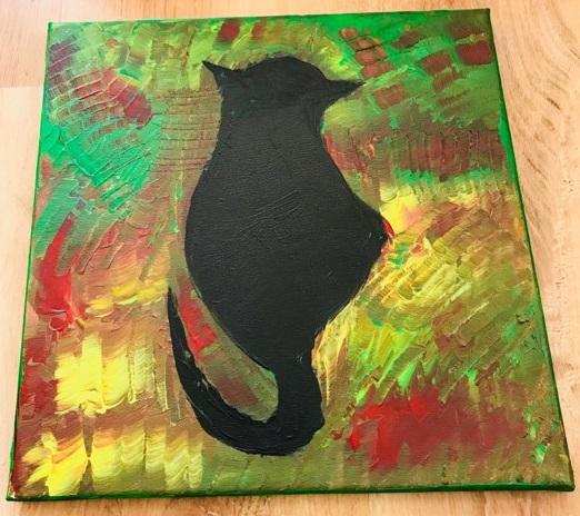 Obraz Kot Na Płótnie 30x30 Malowany Ręcznie 7024589038 Oficjalne