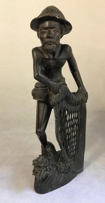 Rzeźba drewno Rybak Indonezja Bali