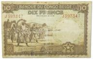 35.Congo Belg., 10 Franków 1942 rzadki, P.14B,St.3