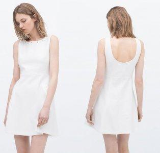 d716af57ff ZARA sukienka kloszowa żakardowa biała 36 S - 6274212554 - oficjalne ...