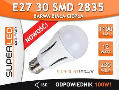 Żarówka LED E27 30 SMD 2835 12W 1100 LM CIEPŁA