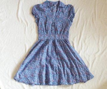 102646ce07 H M sukienka rozkloszowana niebieska retro34XS - 6485867549 ...