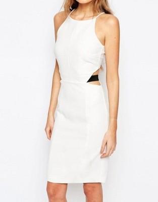 2b5e2852b8 VERO MODA Ołówkowa biała sukienka wstawki 40 - 6760600479 ...