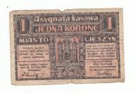 Asygnata Kasowa JEDNA KORONA Cieszyn 1919 UNIKAT