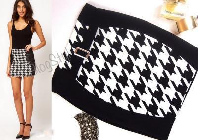 272c73a7dd4cc2 pepitka biało czarna moda wyszczuplająca spódnica - 3074913420 ...
