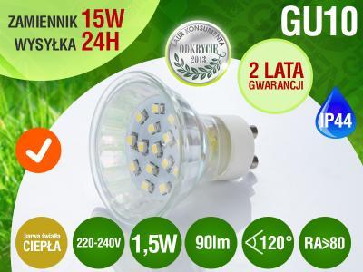 Żarówka GU10 8 LED SMD CIEPŁA 1,5 W 90lm=15W RA