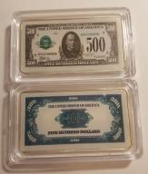 USA PIĘKNA SZTABKA 500$ AG KOLOR PLATED POLECAM