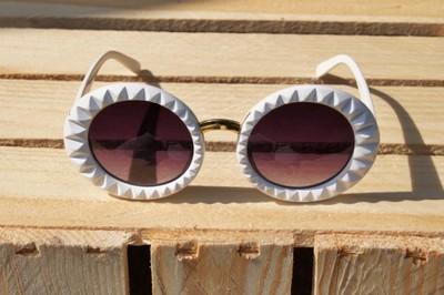 Okulary białe okrągłe, Okulary przeciwsłoneczne Allegro.pl