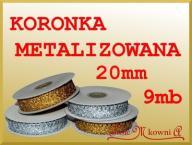 Koronka bawełniana metalizowana 2cm 9mb złota sreb