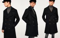 ZARA męski czarny płaszcz militarny zimowy wełna L
