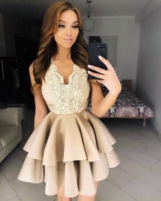 Beżowa Rozkloszowana Sukienka Wesele Xs 6865053287 Oficjalne
