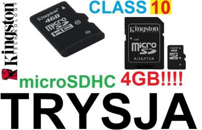 PAMIĘCI KINGSTON microSDHC 4GB CLASS 10 + ADAPTER