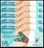 MADAGASCAR 100 ARIARY 2017 UNC 5 szt banknotów