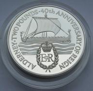 Alderney 1992r. - 2 funty - ŻAGLOWIEC - (srebro)