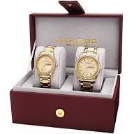 Akribos XXIV Unisex Quartz Watch Set with Gold Dia