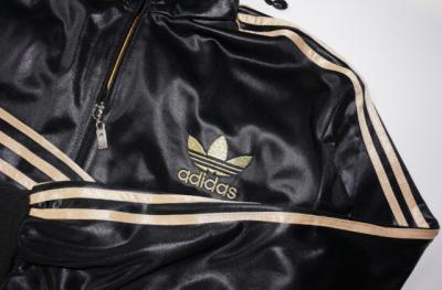 Bluza Adidas j.nowa czarna + złote logo r.S szkoła