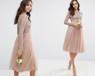 9fd4e6cf57 Sukienka ASOS MAYA NUDE TIULOWA CEKINY WESELE 42 - 6866284889 ...