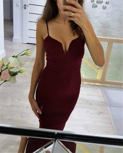 f56c907aec asos a 38 M sukienka bordowa bandażowa wino MISSU - 6397315108 ...