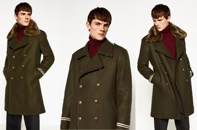 ZARA męski zimowy płaszcz militarny futrzany XL
