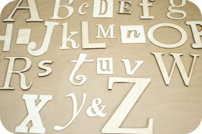 Alfabet dekoracyjny z drewna 3D na ścianę 4mm20cm