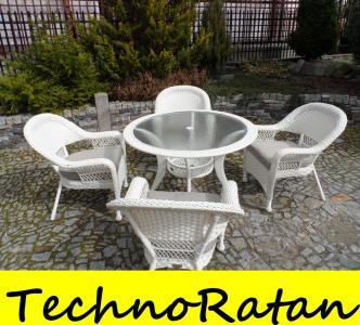 Białe Ogrodowe Stół 4 Fotel Technorattan Rattan