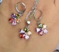 Piękny kwiatowy komplet kolorowe czeskie kamienie