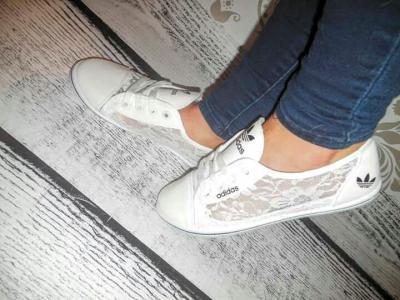 adidas białe koronka