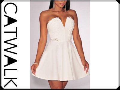 316c139ef0 Sukienka bez ramiączek rozkloszowana biała - 6229368557 - oficjalne ...