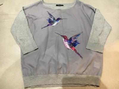 Cudny sweterek Mohito 38/M szara ptaki