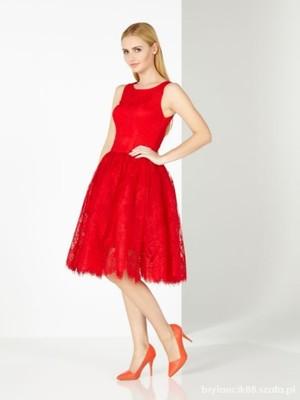 Sukienka MOHITO koronkowa czerwona