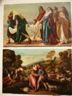 2 pocztówki sceny biblijne malarstwo