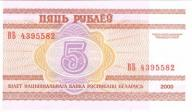 Białoruś 5 rubli 2000, unc