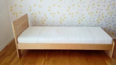 łóżko Pojedyncze Drewniane Z Materacem 6882851091