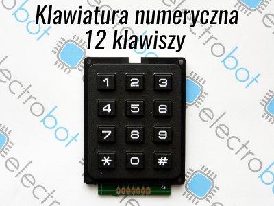 Klawiatura numeryczna 12 klawiszy 3x4 51x64mm