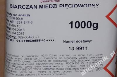 SIARCZAN MIEDZI PIĘCIOWODNY czysty do analizy 1 kg