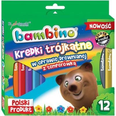 Kredki Bambino drewniane trójkątne 12 kolorów