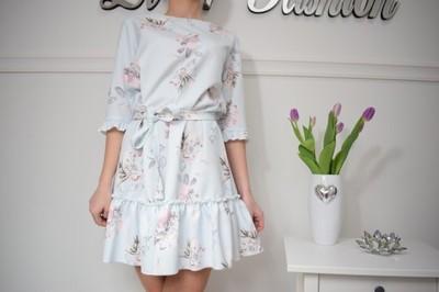 Sukienka Wiązana w pasie Xana w Kwiaty BŁĘKITNA