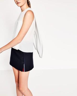 ZARA 42 XL elegancka biała bluzeczka tył dłuższy