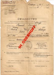 Krotoszyn /Zduny 1934.r.Świadectwo P.W.
