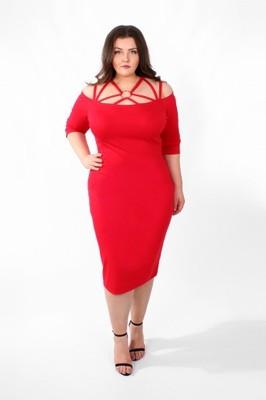 1a667114ef SCARLET Czerwona sukienka rozmiar 56 58 PLUS SIZE - 6743014185 ...